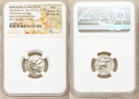 MACEDONIAN KINGDOM. Alexander III the Great (336-323 BC). AR drachm (17mm, 4.35 gm, 12h). NGC AU 5/5 - 4/5. Early posthumous issue of Colophon, ca. 31...