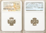 MACEDONIAN KINGDOM. Alexander III the Great (336-323 BC). AR drachm (15mm, 12h). NGC VF. Early posthumous issue of Colophon, under Philip III Arrhidae...