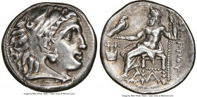 MACEDONIAN KINGDOM. Philip III Arrhidaeus (323-317 BC). AR drachm (17mm, 11h). NGC Choice VF. Colophon, ca. 323-319 BC. Head of Heracles right, wearin...
