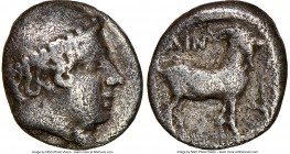 THRACE. Aenus. Ca. 450-400 BC. AR diobol (9mm, 1h). NGC Fine. Ca. 429-427 BC. Head of Hermes right, wearing petasus / AIN, goat standing right; club d...