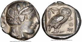 ATTICA. Athens. Ca. 455-440 BC. AR tetradrachm (24mm, 17.12 gm, 5h). NGC Choice XF 5/5 - 3/5. Early transitional issue. Head of Athena right, wearing ...