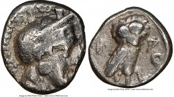ATTICA. Athens. Ca. 454-404 BC. AR obol (7mm, 9h). NGC VF. Helmeted head of Athena right / AΘE, owl standing right, head facing; olive sprig and cresc...