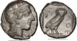 ATTICA. Athens. Ca. 440-404 BC. AR tetradrachm (24mm, 17.16 gm, 9h). NGC MS 5/5 - 4/5. Mid-mass coinage issue. Head of Athena right, wearing crested A...
