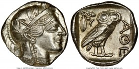 ATTICA. Athens. Ca. 440-404 BC. AR tetradrachm (24mm, 17.19 gm, 5h). NGC MS 5/5 - 4/5, brushed. Mid-mass coinage issue. Head of Athena right, wearing ...