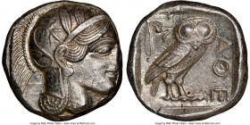 ATTICA. Athens. Ca. 440-404 BC. AR tetradrachm (24mm, 17.18 gm, 7h). NGC MS 3/5 - 4/5. Mid-mass coinage issue. Head of Athena right, wearing crested A...