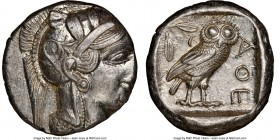 ATTICA. Athens. Ca. 440-404 BC. AR tetradrachm (24mm, 17.17 gm, 3h). NGC MS 3/5 - 4/5. Mid-mass coinage issue. Head of Athena right, wearing crested A...