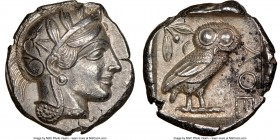 ATTICA. Athens. Ca. 440-404 BC. AR tetradrachm (24mm, 17.15 gm, 10h). NGC Choice AU 5/5 - 4/5. Mid-mass coinage issue. Head of Athena right, wearing c...