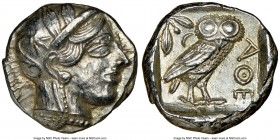 ATTICA. Athens. Ca. 440-404 BC. AR tetradrachm (23mm, 17.24 gm, 7h). NGC Choice AU 4/5 - 5/5. Mid-mass coinage issue. Head of Athena right, wearing cr...