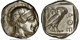 ATTICA. Athens. Ca. 440-404 BC. AR tetradrachm (24mm, 17.21 gm, 6h). NGC Choice AU 5/5 - 4/5, brushed. Mid-mass coinage issue. Head of Athena right, w...