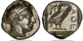 ATTICA. Athens. Ca. 440-404 BC. AR tetradrachm (23mm, 17.19 gm, 10h). NGC Choice AU 5/5 - 4/5, brushed. Mid-mass coinage issue. Head of Athena right, ...