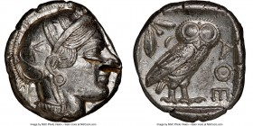 ATTICA. Athens. Ca. 440-404 BC. AR tetradrachm (24mm, 17.19 gm, 6h). NGC Choice AU 5/5 - 2/5, test cuts. Mid-mass coinage issue. Head of Athena right,...