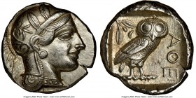 ATTICA. Athens. Ca. 440-404 BC. AR tetradrachm (25mm, 17.21 gm, 4h). NGC AU 5/5 - 4/5. Mid-mass coinage issue. Head of Athena right, wearing crested A...