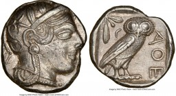 ATTICA. Athens. Ca. 440-404 BC. AR tetradrachm (22mm, 17.16 gm, 8h). NGC AU 5/5 - 3/5. Mid-mass coinage issue. Head of Athena right, wearing crested A...