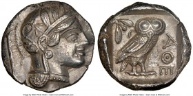 ATTICA. Athens. Ca. 440-404 BC. AR tetradrachm (26mm, 17.02 gm, 6h). NGC AU 5/5 - 3/5. Mid-mass coinage issue. Head of Athena right, wearing crested A...