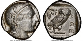 ATTICA. Athens. Ca. 440-404 BC. AR tetradrachm (24mm, 17.17 gm, 11h). NGC Choice XF 5/5 - 3/5. Mid-mass coinage issue. Head of Athena right, wearing c...
