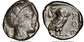 ATTICA. Athens. Ca. 440-404 BC. AR tetradrachm (24mm, 17.18 gm, 1h). NGC Choice XF 4/5 - 4/5. Mid-mass coinage issue. Head of Athena right, wearing cr...