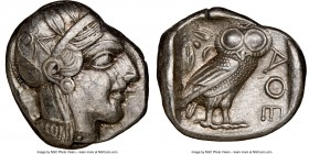 ATTICA. Athens. Ca. 440-404 BC. AR tetradrachm (24mm, 17.15 gm, 11h). NGC Choice XF 3/5 - 4/5. Mid-mass coinage issue. Head of Athena right, wearing c...