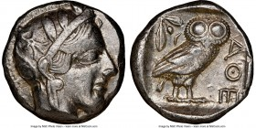 ATTICA. Athens. Ca. 440-404 BC. AR tetradrachm (22mm, 17.19 gm, 10h). NGC XF 4/5 - 4/5. Mid-mass coinage issue. Head of Athena right, wearing crested ...