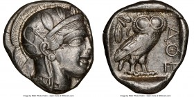 ATTICA. Athens. Ca. 440-404 BC. AR tetradrachm (25mm, 17.15 gm, 1h). NGC XF 4/5 - 2/5, edge cut. Mid-mass coinage issue. Head of Athena right, wearing...