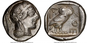 ATTICA. Athens. Ca. 440-404 BC. AR tetradrachm (26mm, 17.18 gm, 10h). NGC Choice VF 3/5 - 3/5. Mid-mass coinage issue. Head of Athena right, wearing c...