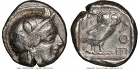 ATTICA. Athens. Ca. 440-404 BC. AR tetradrachm (24mm, 17.14 gm, 8h). NGC Choice Fine 4/5 - 2/5 test cut. Mid-mass coinage issue. Head of Athena right,...