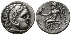 Kings of Macedon. Kolophon. Antigonos I Monophthalmos 320-301 BC. In the name and types of Alexander III, struck circa 310-301 BC.. Drachm AR