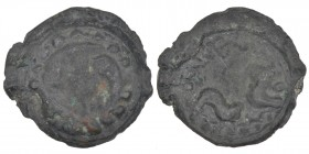 Celtic. Imitation of Greek Gallia coinage. Lingones. Ca 200-100 BC. Potin Unit (21mm, 4.54g). Circle of pellets, three fish (dolphins?) forming a circ...