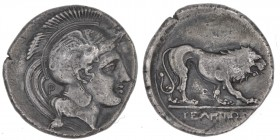 Lucania, Velia. Circa 340-334 BC. AR Nomos (21mm, 7.15g, 3h). Helmeted head of Athena right, behind neck P / Lion standing right, P below, ΥΕΛΗΤΩΝ. SN...