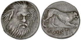 Cimmerian Bosporos. Pantikapaion. Circa 370-355 BC. AR Hemidrachm (13mm, 2.63g, 5h). Head of bearded Satyr facing slightly tilted right / PANTI, lion ...