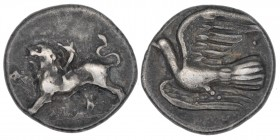 Sicyonia. Sicyon. Ca. 330/320-280 BC. AR triobol (15mm, 2.86g, 12h). Chimera advancing left, ΣI below / Dove flying left. HGC 5, 213. BCD 288.3. Very ...