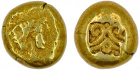 Ionia, Uncertain. Circa 600-550 BC. EL Trite – Third Stater (11mm, 4.22g). Figural type. Milesian standard. Protome of prancing horse right / Palmette...