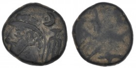 Kings of Elymais. Uncertain early Arsakid kings. Late 1st century BC-early 2nd century AD. Æ Drachm (15mm, 3.62g). Diademed bust left / Highly degrade...