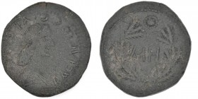 Kings of Bosporus. Sauromates I. AD 93/4-123/4. Æ 48 Units (24mm, 10.68g, 12h). Struck AD 117/8-123. Diademed and draped bust right / MH within wreath...