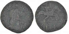 Kings of Bosporus. Kotys II. 123/4-132/3 AD. Æ 25mm (24mm, 8.36g, 12h). Diademed and draped bust right; trident before / Kotys riding right on horseba...