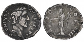 Antoninus Pius. 138-161 AD. AR denarius (17mm, 2.97g, 6h). Rome mint. Struck 145-161 AD. ANTONINVS AVG PIVS P P, laureate head of Antoninus Pius right...