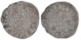 Crusader Antiochia. Boemund III. 1163-1201. AR denar (20mm, 0.93g). Bust / cross. Malloy 26. Schlumberger Table II, 20. Fine.