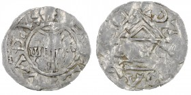 Czech Republic. Bohemia. Boleslav II 967 - 999. AR Denar (18mm, 0.66g). Prague mint. +BOEZLVΛDΛ, hand of providence descending from clouds, ω and Λ on...
