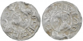 Czech Republic. Bohemia. Boleslav II. 967-999. AR Denar (18.5mm, 1.61g). Prague mint. +:BOLEZLAVSDV, hand of providence descending from clouds, arrow ...