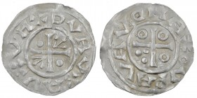 Czech Republic. Boleslav III 999-1002/3. AR Denar (18mm, 1.28g). Prague mint. +HV+VA+VAVD, cross with one arrowhead in two angles and one pellet in tw...