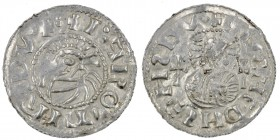 Czech Republic. Bohemia. Jaromir, 1003, 1004 - 1012, 1033 - 1034. AR Denar (19mm, 0.84g). Prague mint. +IΛROMIRDVX:, bust left, in front cross / +[_]A...