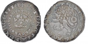 Czech Republic. Bohemia. Wenceslaus II. 1278-1305. Pragergroschen (26mm, 3.68g). Crown inside double circles of legend / Crowned lion left. Saurma 390...