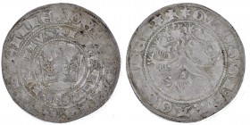 Czech Republic. Bohemia. John I of Luxembourg. 1310-1346. AR Pragergroschen (27mm, 3.68g). Crown inside double circles of legend / Lion left. Smolik 1...