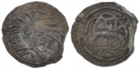 Denmark. Sceatta. Circa 720/25-800/20. AR Sceat (11mm, 0.85 g, 11h). Series X, type 31. Ribe mint. Wodan head facing / Creature left. Metcalf 278; Nor...