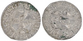 Denmark. Harthacnut 1035-1042. AR penning (17mm, 0.57g). Hedeby mint. Four crescents, cross in center / Legend across, above cross. Hauberg 50; Hbg. A...