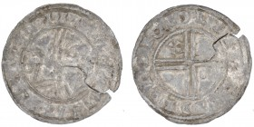 Denmark. Svend Estridsen. 1047-1075. AR penning (17mm, 0.60g). West Danish mint(?). Draped bust left; crozier before / Voided short cross, trefoil of ...