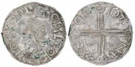 Sweden. Olof Skötkonung 995-1022. AR Penning (19mm, 1.58g). Imitation of Aethelred II Long Cross type. Sigtuna mint. Period II, ca 1000/5-1020. LO+EOP...