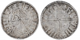 Ireland. Hiberno-Norse. 1015-1035. Imitation of Aethelred II long cross type. Phase II coinage. AR Penny (17mm, 0.97g, 12h). Dublin mint; moneyer Faer...