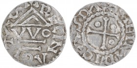 Germany. Duchy of Bavaria. Heinrich I 948 - 955. AR Denar (20mm, 1.59g). Regensburg mint; moneyer VVO. HEIMRICVSDVX, cross with pellets in three angle...