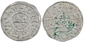 Germany. Duchy of Bavaria. Heinrich IV (II) 1002-1009. AR Denar (19mm, 1.02g). Regensburg mint; moneyer ⵎcco. XHCNTRCEIVလ+, cross with three pellets i...