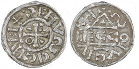 Germany. Duchy of Bavaria. Heinrich IV (II) 1002-1009. AR Obol (15mm, 0.77g). Regensburg mint; moneyer Ecco. HꓞCXEAHↃDလΛ, cross with three pellets in ...